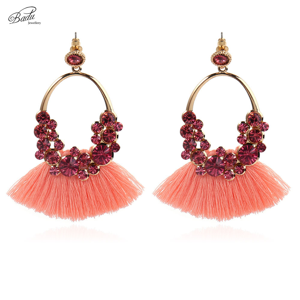 Badu Bohemian Tassel Earring for Women 4 Colors Ethnic Baroque Long Fringed Dangle Earrings Fashion Jewelry Christmas Gift ethnic print fringed cami dress