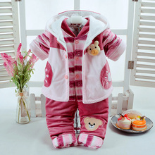 Winter Fall Infant Babys Clothes Add Cotton-Padded Thick Suits 0-3-6 Month Newborn Baby 3 Pcs/Set Cute Pink Bear Sytle