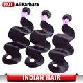 9A Não Transformados Indiano Virgem Do Cabelo da Onda Do Corpo Extensões de Cabelo Humano 3 pacotes Onda Do Corpo Indiano Virgem Do Cabelo # 1B Alibarbara cabelo