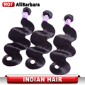 9A Unprocessed Indian Virgin Hair Body Wave Human Hair Extensions 3 bundles Indian Body Wave Virgin Hair #1B Alibarbara Hair