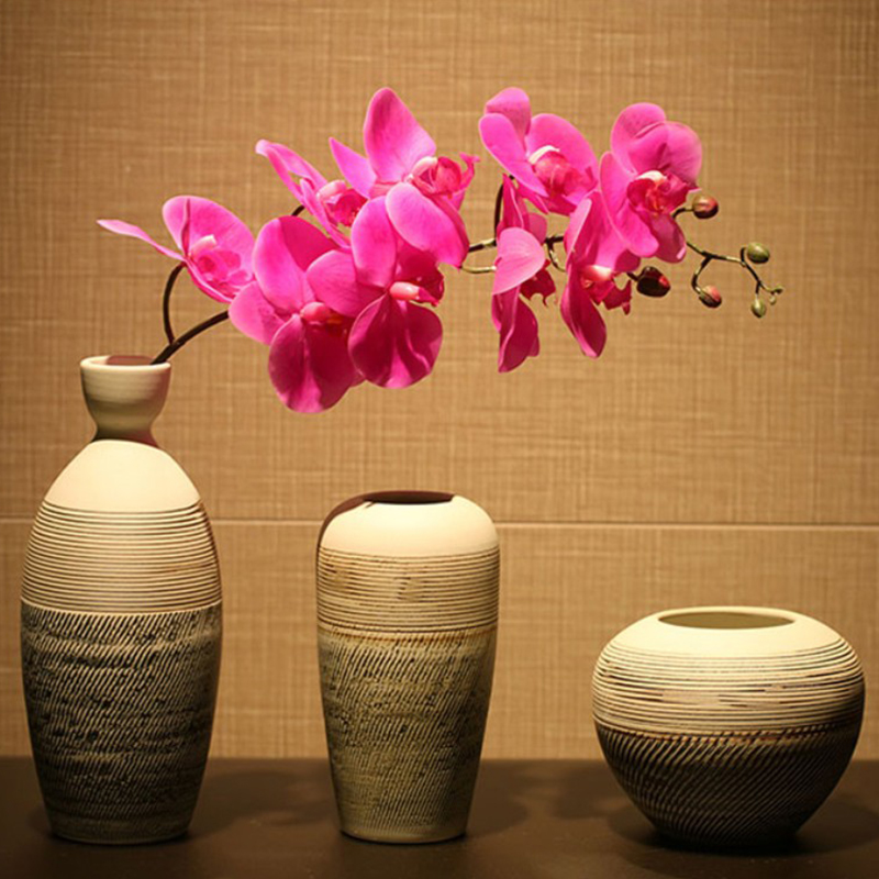 Handmade home vase ceramics desktop coarse pottery decoration artificial  dried flower countertop vintage decoration