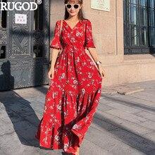 1990a8d9817c9 RUGOD النساء الربيع الصيف فساتين أزياء الأزهار طباعة طويل الأحمر اللباس  Vestidos عارضة V الرقبة تونك مطوي اللباس ماكسي اللباس