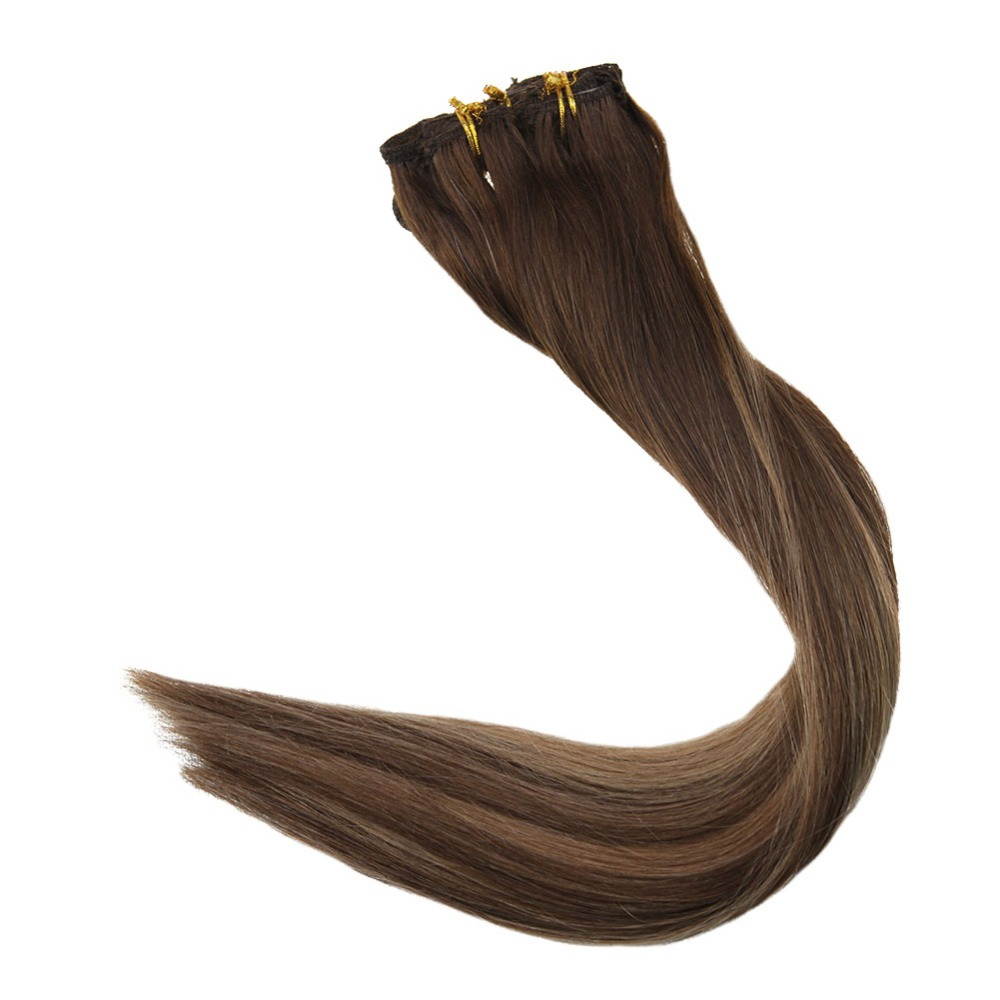 Full Shine 100g Clip In Human Hair Extensions Balayage Color # 4/27/4/4/14 Double Wefted Full Head Clip In Remy Hair Extensions