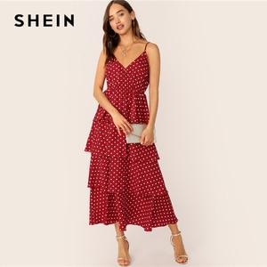 Image 4 - SHEIN Surplice Neck Layered Ruffle Cami Dress Women 2019 Summer Burgundy Spaghetti Strap Fit and Flare Long Slip Dresses