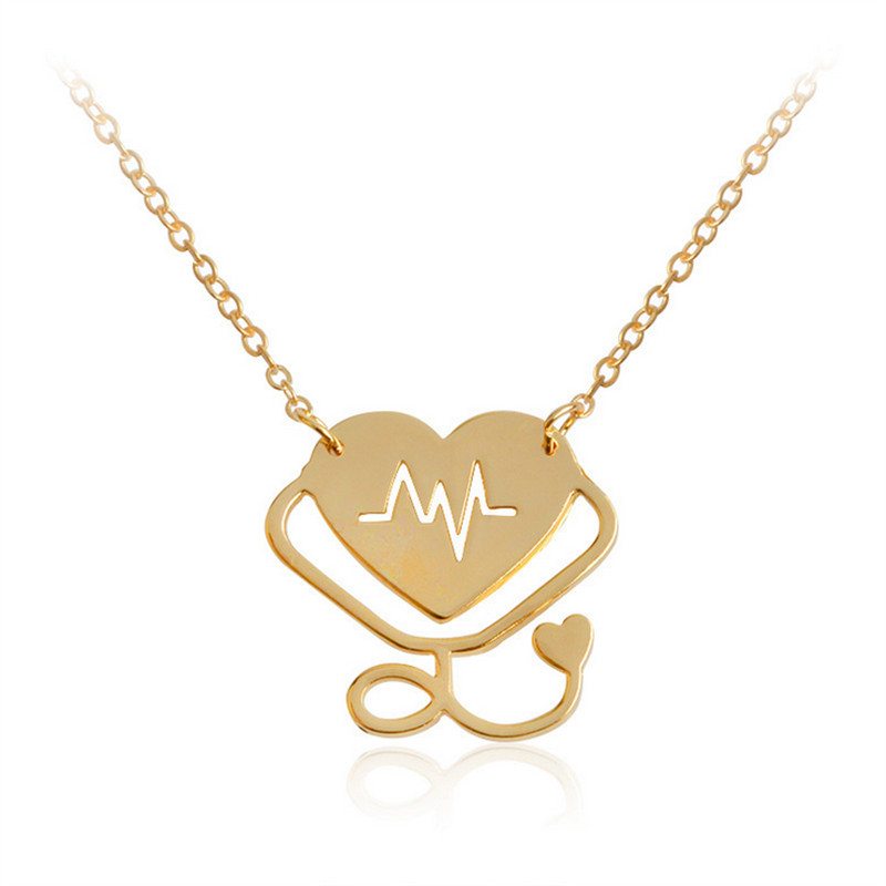 Medical Stethoscope Pendant Necklace Rose Gold Silver Gold color Heart Beats Collar Chain Necklace For Nurse Doctor Bijoux