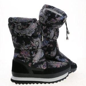 Image 5 - Женские зимние сапоги с цветочным принтом, средней высоты, большие размеры, искусственный теплый мех, с принтом, бесплатная доставка
