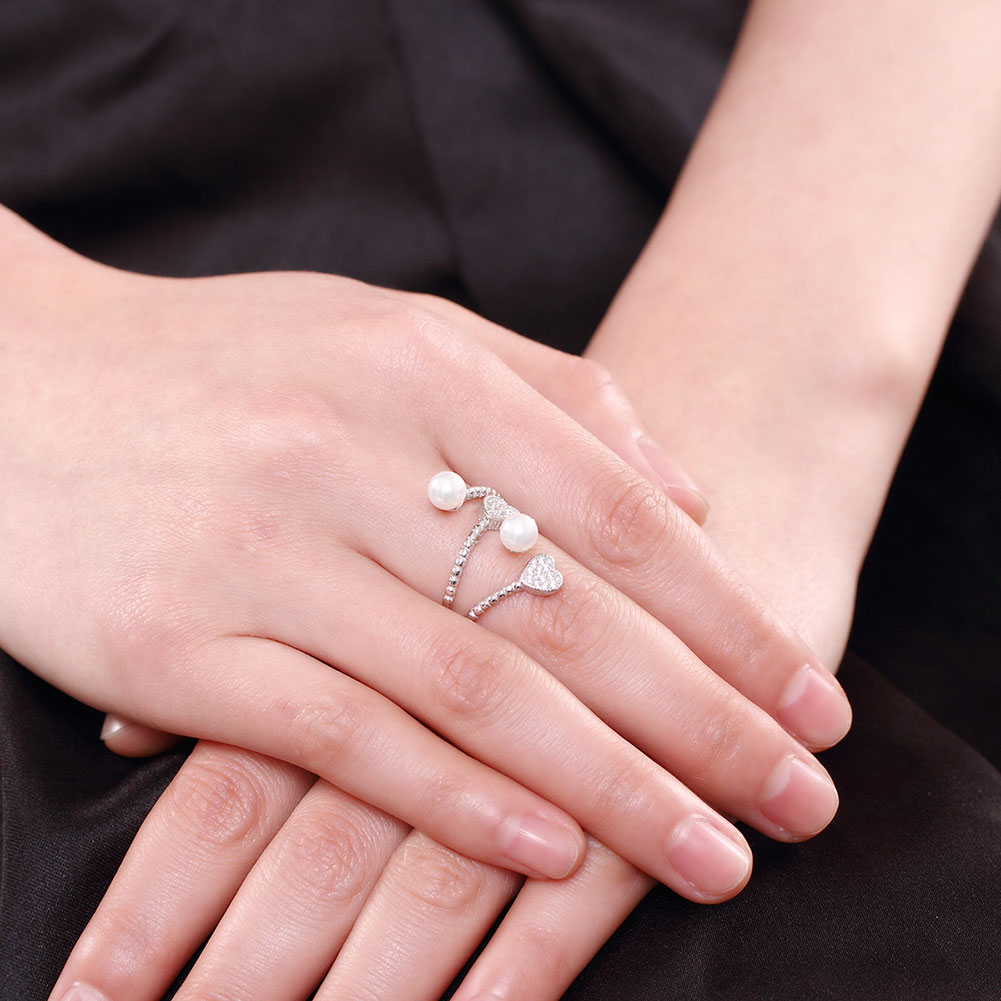 XU 925 Sterling Silver Pearl Rings Women\'s Hearts Elegant Fashion ...