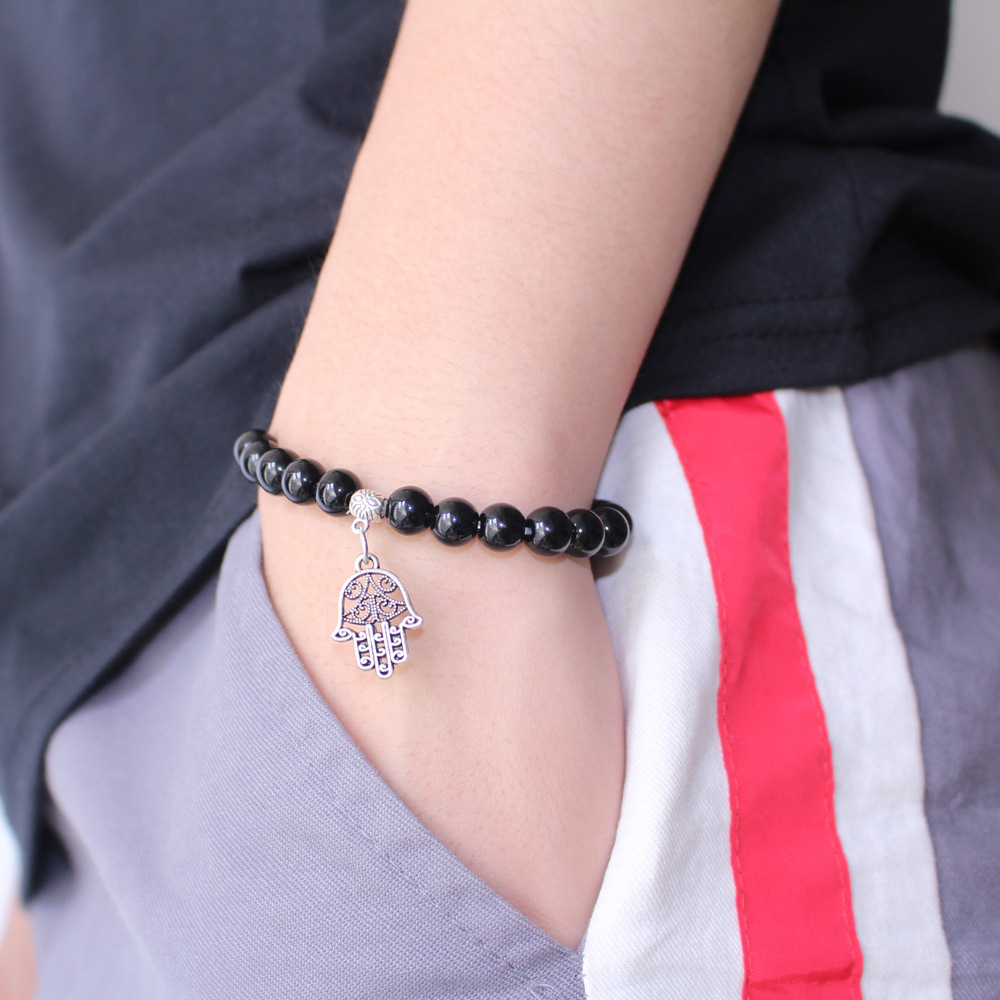 Corn Engraved Pendant Obsidian Boys Girls Women Men's 8mm Beads Bracelwet