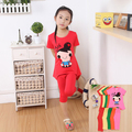 2-4Y 2 3 4 anos bebê Dos Desenhos Animados vestuário set 2 pcs terno menina T-shirt de manga curta tops + bezerro-comprimento das calças ternos inteiros