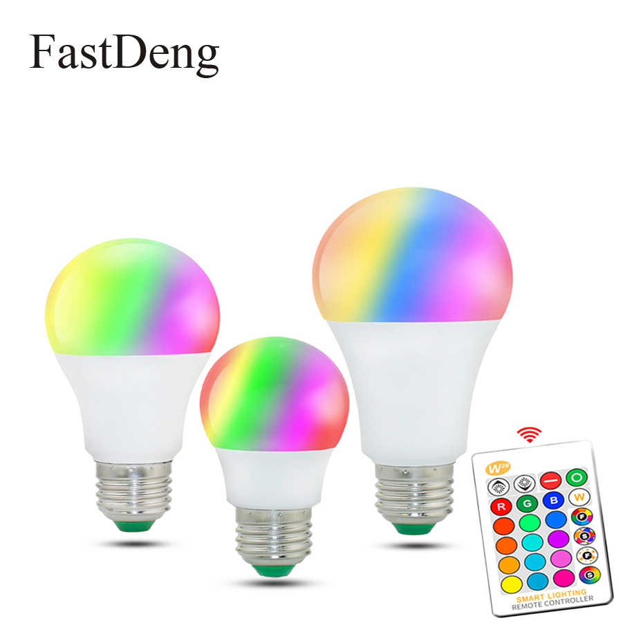 E27 RGB LED Bulb Light 110V 220V Dimmable RGB LED Lamp 5W 10W 15W 16 Colors Changeable Home Lighting Lamp With Remote Control