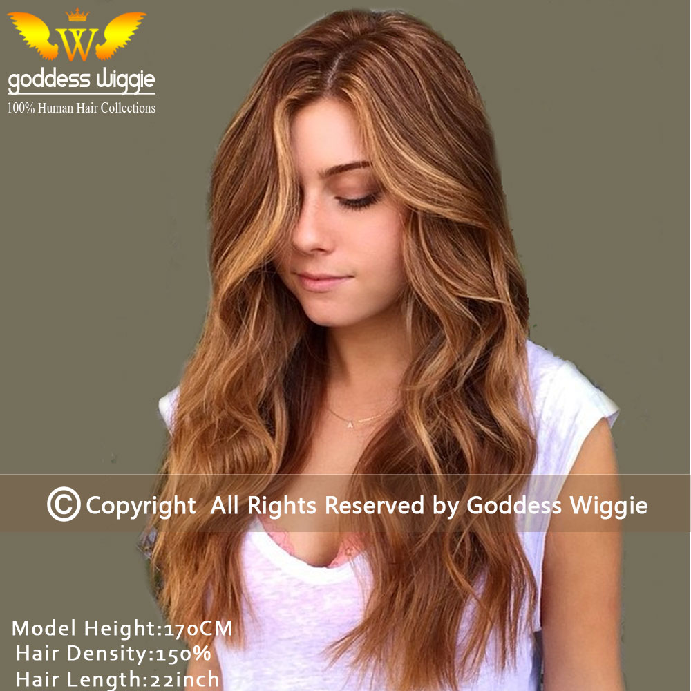 5a 150density Long Body Wavy Human Hair Highlight Wigs