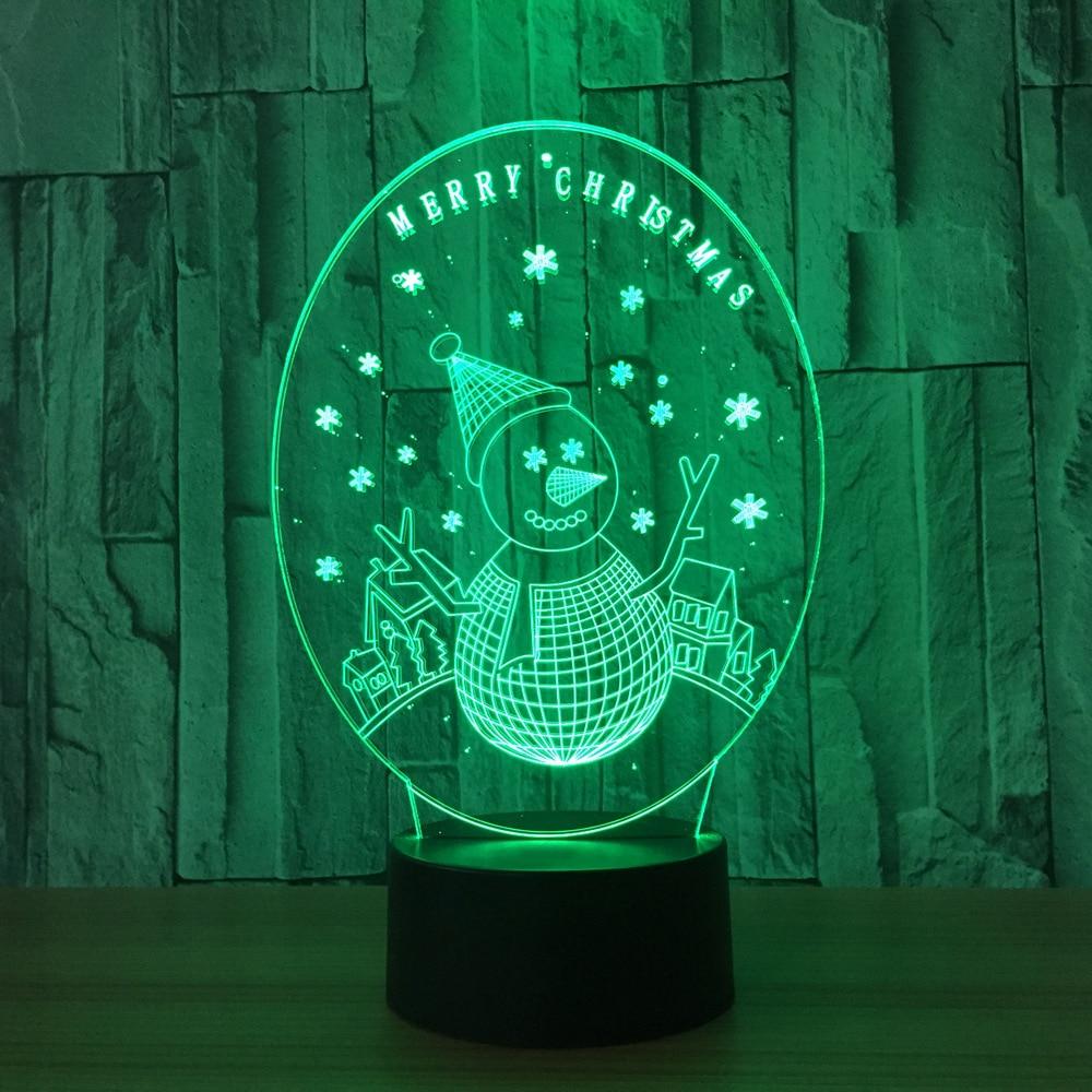 3D LED Bedside Sleeping Night Light Christmas Snowman Lamp Novelty Colors Luminaria Bedroom Decor Light XMAS Kids New Year Gifts
