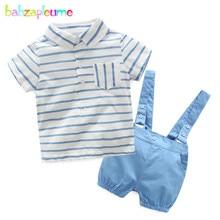 babzapleume Zero-24Months Summer Newborn Clothing Set Fashion Stripe Short Sleeve T-shirt+Shorts Baby Boys Clothes 2PCS Suit BC1378