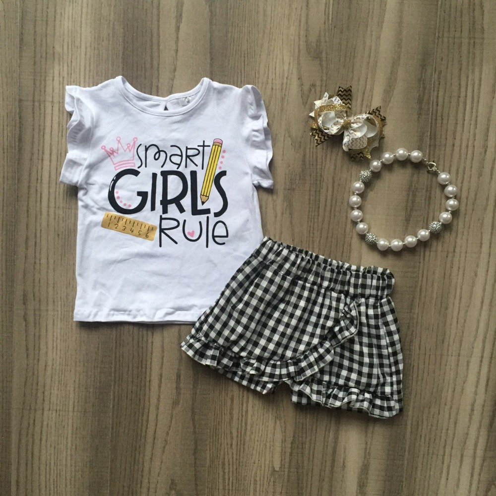 baby kids back to school boutique clothing children white SMART GIRLS RULE shirt black white checked pants with accessoriesbaby kids back to school boutique clothing children white SMART GIRLS RULE shirt black white checked pants with accessories