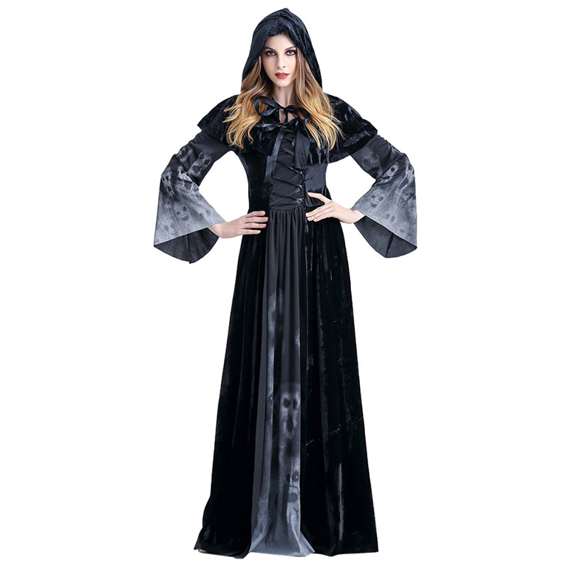 Halloween Party Witch Role Playing Female Ghostly Vampire Scary Cloak Evil Stage Adult Cosplay Costume Long Fancy Dresses