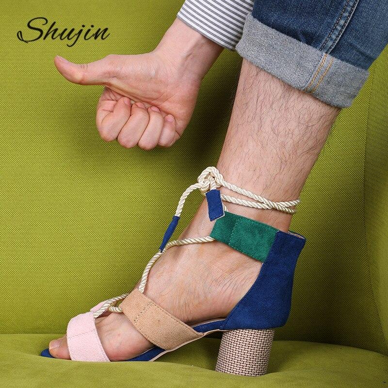 SHUJIN Platform Sandals Espadrilles Summer Wedge Women Heel Hemp Pointed Fish-Mouth 7CM