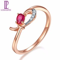 Lohaspie Natural Gemstone Ruby & Diamond Solid 18K Rose Online Engagement Rings Gold Diamond Jewelry For Women 2017 Best Buy