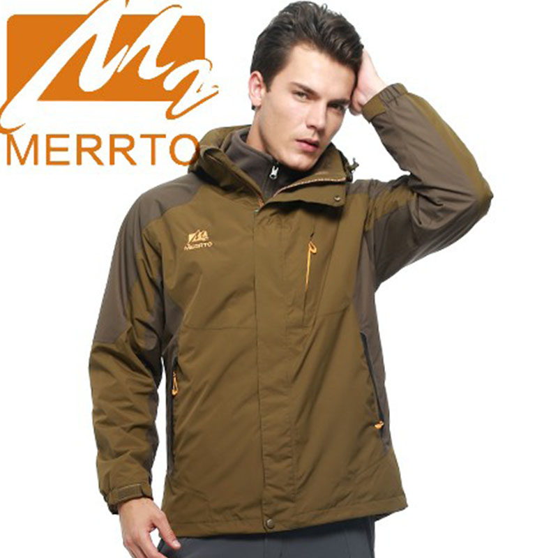 2017 Merrto Mens Waterproof Windproof Hiking Jackets Outdoor Sports Jackets Warmth Camping Coats For Men Free Shipping MT19130 2017 merrto mens hiking boots waterproof breathable outdoor sports shoes color black khaki grey for men free shipping mt18638