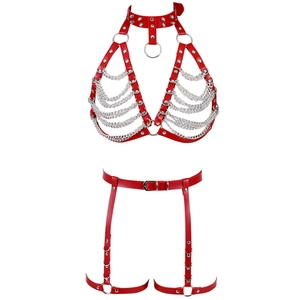 Image 2 - Red Strap Top Cage Leather Harness Bra Bondage for Women Metal Chain Body Harness Set Garter Belt Punk Gothic Plus Size Adjust
