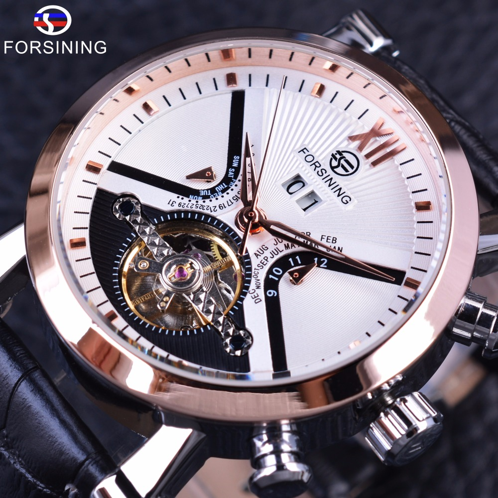 Forsining Classic Tourbillion Design Calendar Genuine Leather Strap Mens Watches Top Brand Luxury Mechanical Automatic Watches megir fashion business wrist watches for men tourbillion design top brand luxury auto mechanical watches genuine leather strap