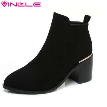 VINLLE 2020 Women Boot Ankle Boots Square High Heel Scrub/PU leather Pointed Toe Zipper Ladies Motorcycle Shoes Size 34-43