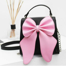 Pink large bow buckle handbag shoulder Messenger bag, sweet lady lovely cute chain bag.women girls fashion bags
