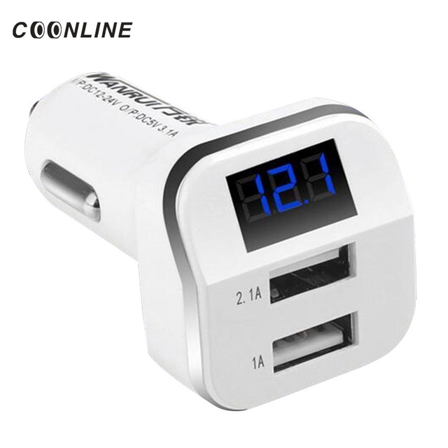 Coonline Car Cigarette Lighter LED Voltage Monitor Display 3.1A Dual USB Car Charger Adapter For iPhone Ipad Samsung Tablet