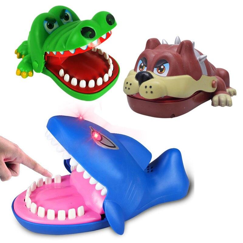Niños 15 cm divertido juguete novedoso cocodrilo/boca de perro dentista morder dedo juguete niños cocodrilo ruleta juego mordaza estrés juguete