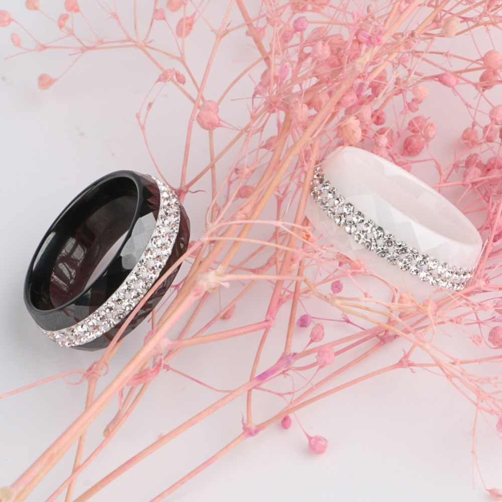 ใหม่มาถึงเซรามิคแหวน Multi-faceted สีดำสีขาว 2 แถว Rhinestone สำหรับผู้หญิงประณีตเครื่องประดับงานแต่งงานของขวัญ