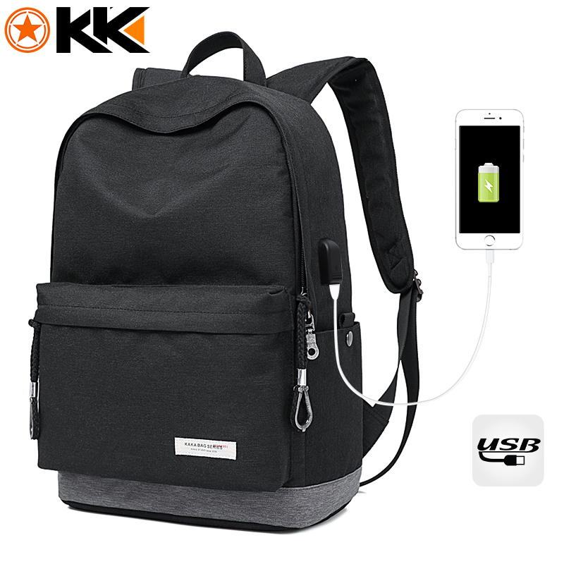 Kaka Casual Laptop Backpack Male Usb Charging Nylon Waterproof Men Backpack Mochila Black Schoolbag Backpacks Bag For Teenagers