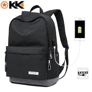Image 2 - Kaka Nữ Casual Ba Lô Laptop Nam Sạc USB Chống Nước Nam Ba Lô Mochila Đen Schoolbag Ba Lô Túi Dành Cho Thanh Thiếu Niên