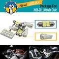 5 peças do carro 5630 smd dome mapa interior luz tronco lâmpada led branco led kit pacote para honda civic 2006-2011