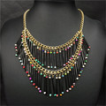 Fashion Women Jewelry Multi-Layer Beads Tubular Tassel Necklace Statement Jewelry 2016 New Big Brand Design Beads Necklace