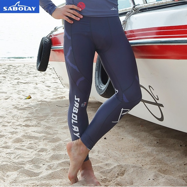 91f792bf095 SABOLAY Men lycra Surf Tops Diving Sun Protection Tight long pants  Rashguards Swimsuit Sunscreen Swimming Rash Guard long Pants