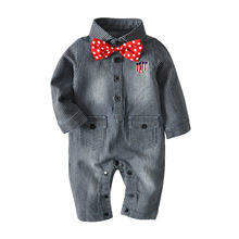 2018 Winter Newborn Baby Clothes Jeans Romper Stripe With Bow-knot Girl Jumpsuit Outfits