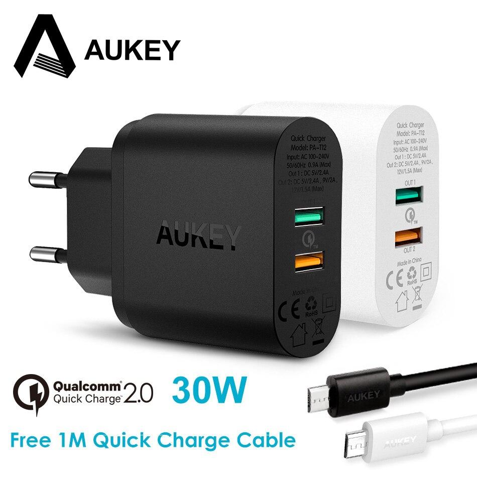 AUKEY 30 Watt Handy-ladegerät QC 2,0 Schnellladung USB wand Ladegerät Dual Ports Universal Travel Schnellladung für Telefon Tab
