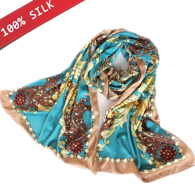 2017 Nuevo Oro Del Dorado 100% Pura Seda De la Señora de Las Mujeres de Color Azul Cielo Pintado Pañuelos de Seda Bufanda De Marca de Calidad Superior