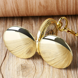 Image 3 - YISUYA Fashion Golden Smooth Double Hunter Case Roman Number Skeleton Steampunk Hand wind Mechanical Pocket Watch for Men Women