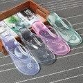 2017 Venta Caliente de La Buena Calidad de Las Mujeres Sandalias Chanclas Zapatillas de Cristal Transparente Flip Flop Plana Femeninos Zapatos de Playa Transparente