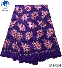 Beautifical purple voile lace korean swiss embroidery fabric cheap price in Guangzhou 5 yards/lot 2R102