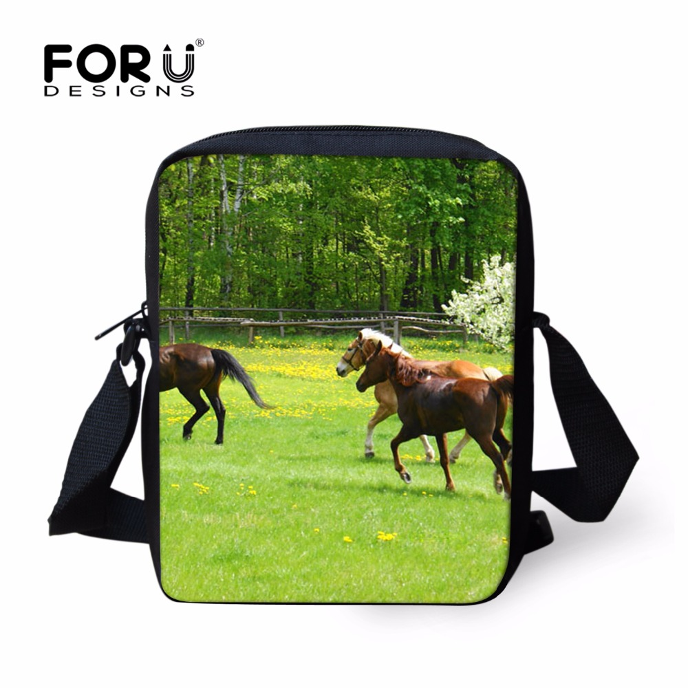 FORUDESIGNS 3D Crazy Horse Shoulder Bags Women Men Handbag Teenager Boys Grils Travel Crossbodybag Messenger Bags Christmas Gift