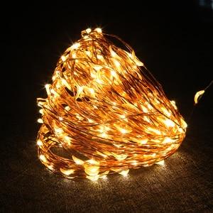 Image 2 - 銅線 Led ストリングライト 10 メートル 20 メートル 30 メートル 50 メートル LED 屋外クリスマスの妖精ライトウォームホワイト星空ライト + アダプタ