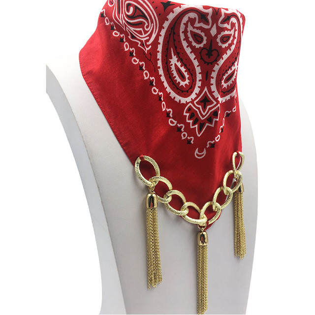 Gold Chain Tassel Bandana Choker | Jewelry Scarf