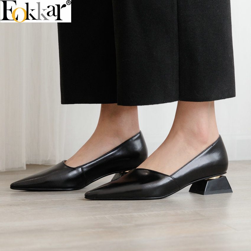 Eokkar 2019 Ladies Pointed Toe Gold Pumps Slip On Shallow Sandals Shoes Office Lady Black Dress