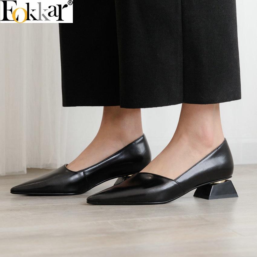 Eokkar 2019 숙 녀 지적 발가락 골드 펌프 슬립 얕은 샌들 신발 office 레이디 블랙 드레스 신발 낮은 발 뒤꿈치 크기 34 43-에서여성용 펌프부터 신발 의  그룹 1