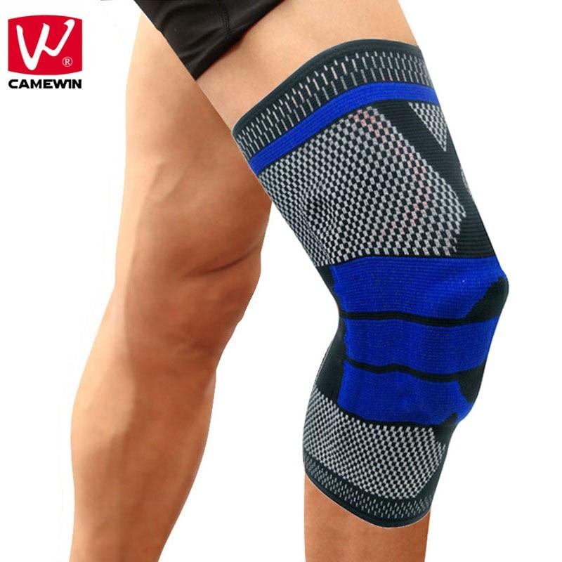 Марка CAMEWIN 1 пара наколенники 2 шт пружины колено Поддержка Спорт безопасности наколенники коленной гвардии для мужчин и женщина