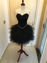 Feather Short Evening Party Tulle Ball Gown Homecoming Dress Strapless Sweetheart Neck Knee Length Short Fashion Dress Prom