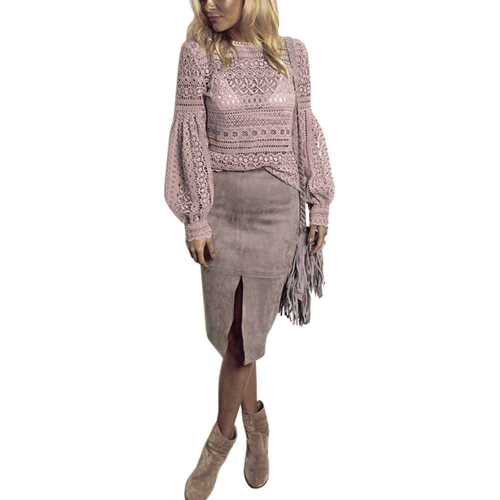 VESTLINDA Sexy Lace Hollow Out Blouse Shirt Women Blusas Feminina 2017 O Neck Lantern Sleeve Blusa Ladies Elegant Lace Blouse 3