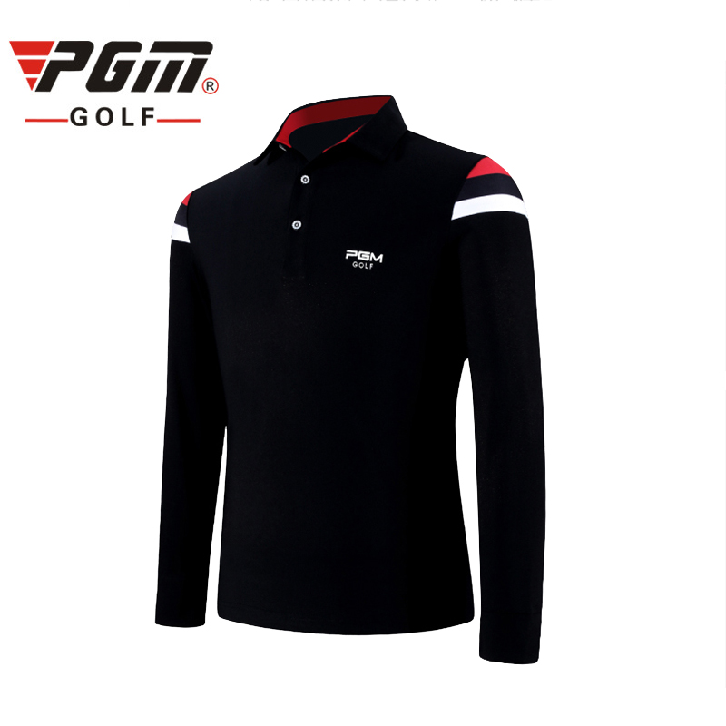 PGM Golf Shirts For Men Cotton Turn Down Collar Thicker 2017 Winter New Top Brand Sportswear Breathable Golf Full Shirts