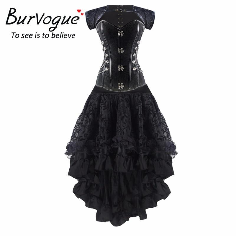 Burvogue Women's Gothic Lace Steampunk Corset Dress Waist Control Bustiers & Corsets Skirt Set Steampunk Corset Dress Clothing